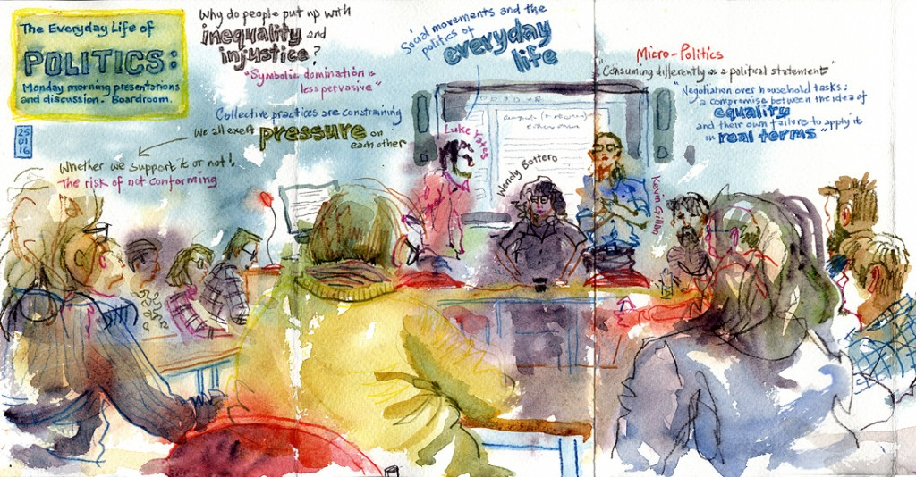 Update: Lynne Chapman, the Morgan Centre's Artist-in-Residence captured this meeting in a lovely sketch. You can see some of Lynne's other work at her blog.